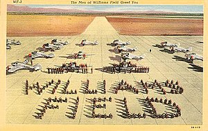 Williams Air Force Base - Postcard from Williams Field showing aircraft and cadets standing in formation