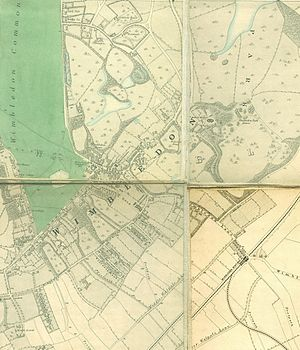 Wimbledon, London - Wimbledon section of Edward Stanford's 1871 map of London