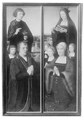 Wings of a polyptych with donors -Man with son and Saint, Woman with daughters and Saint (burned)