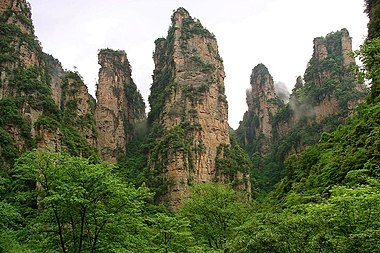 Wulingyuan, located in south-central Hunan, is a World Heritage Site Wulingyuan.jpg