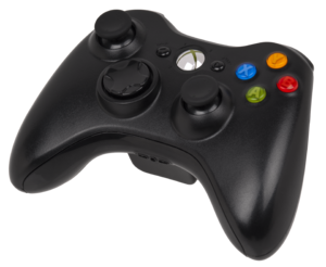 Black Xbox 360 S wireless controller