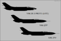 Yakovlev Yak-26-3, Yak-27P and Yak-27V side-view silhouettes.png