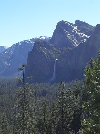 Knickpoint - Bridalveil Fall, in Yosemite, careens over the edge of a glacially-carved hanging valley.