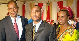 Yusuf Hassan Abdi - Hassan with Somali journalist Hassan Abdillahi and entrepreneur Mariam Adam, in Toronto during Hassan's Canada Day keynote address (July 1, 2011).