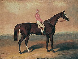 "Birdcatcher (horse) - Image: ""Birdcatcher"" with jockey up"