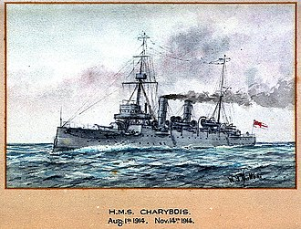 Astraea-class cruiser - HMS Charybdis, a watercolour by W. J. Sutton, 1914