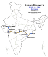 (Puri - Ahmedabad) Express Route map.png