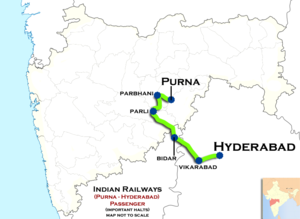 (Purna - Hyderabad) Passenger train route map.png