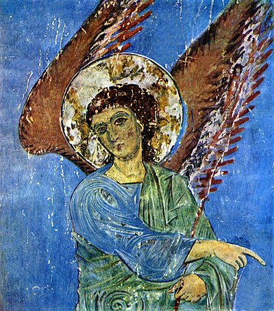 Archangel of Kintsvisi, complete with scarce natural ultramarine paint, evidenced the increasing resources of the realm Angel. Fragment freski khrama Kintsvisi. Konets 12 - nachalo 13 vv.jpg