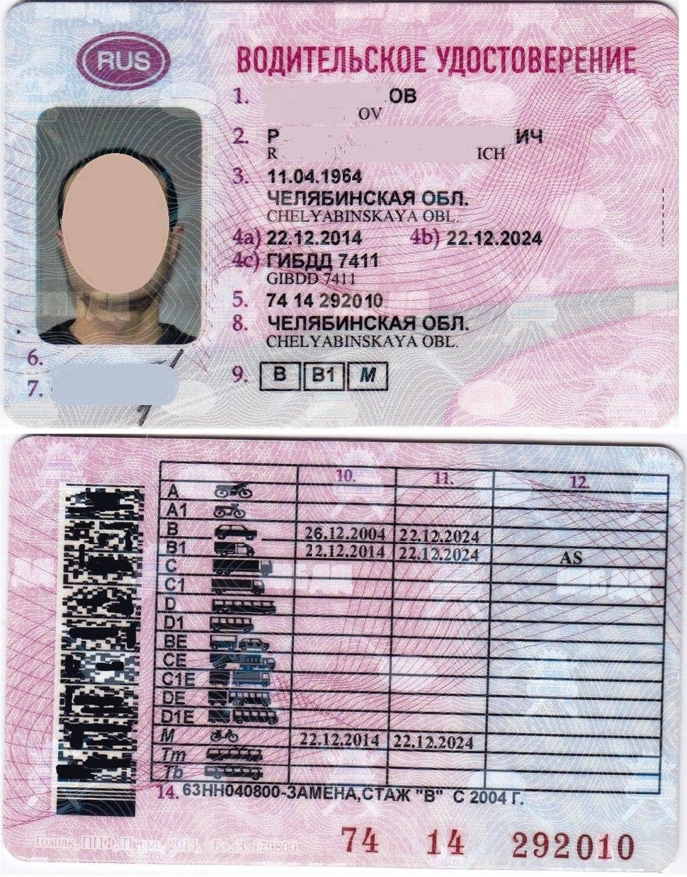 Водительское удостоверение РФ (образца 2014 года). Стороны А и Б.