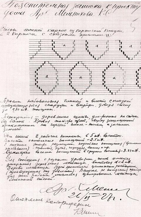 Пояснительная записка к проекту дома Мельникова