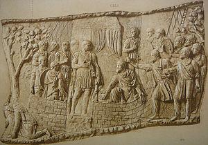 Retreat and suicide of Dacians (Scene CXL); Da...