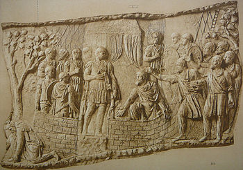Retreat and suicide of Dacians (Scene CXL); Dacian chieftains before Trajan (Scene CXLI),