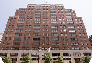 111 Eighth Avenue - The Ninth Avenue façade featuring the Google corporate logo