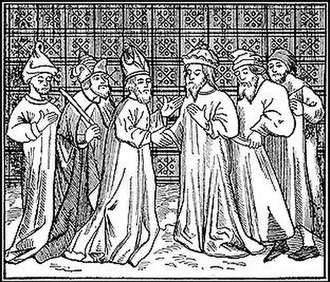 History of the Jews in France - A gathering of thirteenth-century French Rabbis (from the Bibliothèque Nationale, Paris).