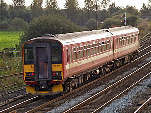 British Rail Class 155 - WYPTE Class 155 No. 155341 at Castleton East Junction, in the original carmine and cream livery
