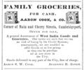 1848 Aaron Cook groceries Cherry Street advert Cambridge Directory Massachusetts US.png