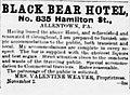 1881 - Black Bear Hotel Newspaper Ad Allentown PA.jpg