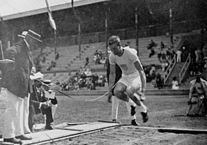 Standing long jump - Benjamin Adams during the standing long jump competition at the 1912 Summer Olympics