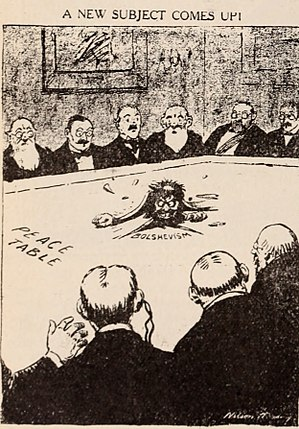 Red Scare - Political cartoon from 1919 depicting the Russian revolution's impact on the Paris peace talks