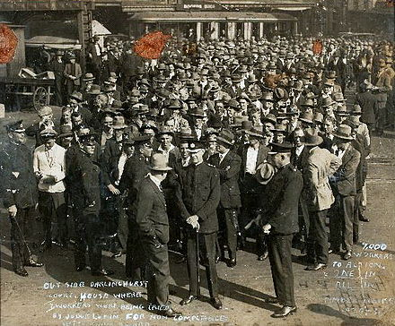 Workers protest the decisions of the Commonwealth Court of Conciliation and Arbitration during the 1929 Timber Workers strike. 1929 Timberworkers Strike.jpg