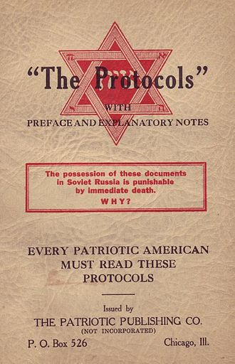 The Protocols of the Elders of Zion - A 1934 edition by the Patriotic Publishing Company of Chicago.