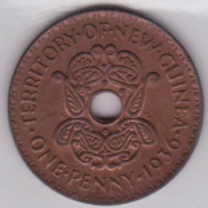 New Guinean pound - Image: 1936 New Guinea Penny Obverse