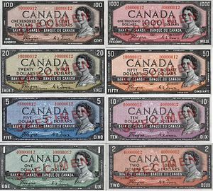 1954 Series (banknotes) - The banknotes of the 1954 Series.