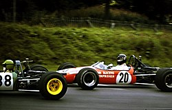 James Hunt driving a Brabham BT21 in the Guards Trophy F3 race at Brands Hatch, 1969.