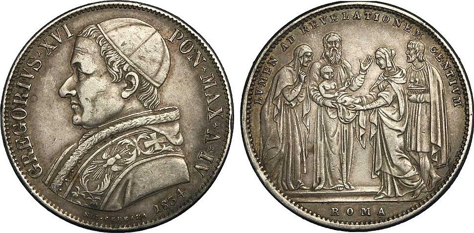 1 Scudo en argent à l'effigie de Grégoire XVI, 1834