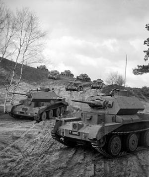 British Armoured formations of World War II - Cruiser Mk IVA tanks of the 1st Armoured Division on exercise during 1941.