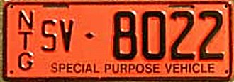 Vehicle registration plates of the Northern Territory - Government