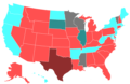 2004 United States House of Representatives Election by Change in the Majority Political Affiliation of Each State's Delegations From the Previous Election.png