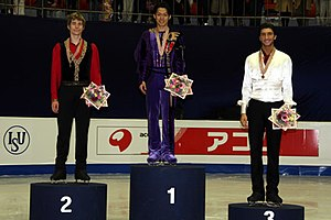 2008 Four Continents Figure Skating Championships - The men's podium. From left: Jeffrey Buttle (2nd), Daisuke Takahashi (1st), Evan Lysacek (3rd).