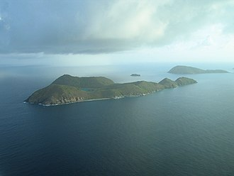 Carvel Rock (British Virgin Islands) - An aerial view showing Carvel Rock between Ginger Island and Cooper Island