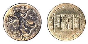 Moneta italiana commemorativa da 200 lire coniata in occasione della prima giornata mondiale dell'alimentazione (16 ottobre 1981). Sul retro è raffigurata Villa Lubin, già sede dell'Istituto internazionale di agricoltura (IIA), precursore dell'Organizzazione delle Nazioni Unite per l'alimentazione e l'agricoltura (FAO) ed attuale sede del Consiglio nazionale dell'economia e del lavoro (CNEL).