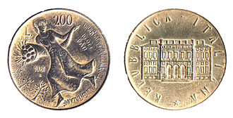 National Council for Economics and Labour - Villa Lubin (on right) on a 200 Italian lira coin celebrating the first World Food Day in 1981