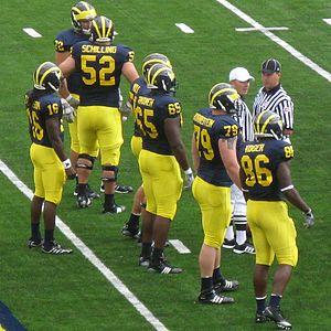 Patrick Omameh - 2010 Michigan offense including No. 16 Denard Robinson, No. 86 Kevin Koger, No. 52 Stephen Schilling, and No. 50 David Molk as well as No. 79 Perry Dorrestein, No. 65 Omameh, and No. 72 Mark Huyge