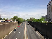 2014-05-12 11 31 16 View north along U.S. Route 1 (Trenton Freeway) from the overpass for East State Street in Trenton City, Mercer County, New Jersey