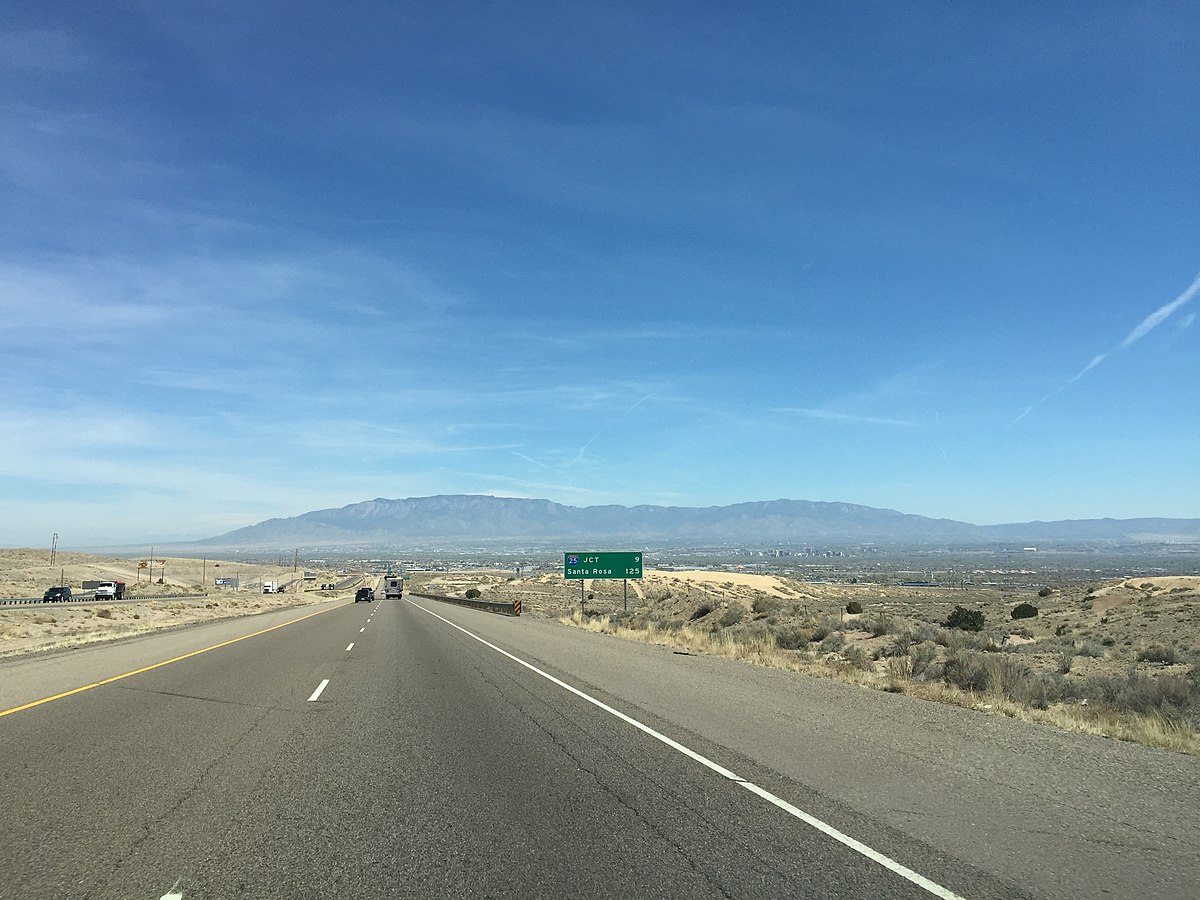 2016-03-21 13 01 55 View east along Interstate 40 near milepost 150 just west of Albuquerque in Bernalillo County, New Mexico.jpg