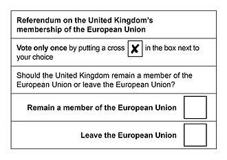European Union Referendum Act 2015 - A sample of the ballot paper which was used in the referendum across the United Kingdom and Gibraltar