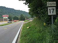 2017-07-22 17 51 44 View south along West Virginia State Route 17 (Spruce River Road) at Veterans Memorial Bypass in Madison, Boone County, West Virginia.jpg