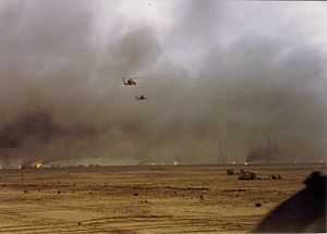 Battle of Kuwait International Airport - The battlefield at Burgan Oil Field where the United States Marine Corps destroyed 60 Iraqi tanks during the 1st Gulf War, February 1991.