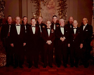 Edwin A. Pollock - 20th Anniversary of 2nd Marine Division, 1961; from left to right: BG Leonard F. Chapman Jr., GEN Franklin A. Hart ret., LTG Joseph C. Burger, LTG Lewis B. Puller ret., BG Odell M. Conoley, LTG Thomas E. Watson ret., MG James P. Berkeley, MG Clayton B. Vogel ret., MG Robert B. Luckey, LTG Julian C. Smith ret. and GEN Edwin A. Pollock ret.