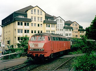 Vogelsberg Railway - Locomotive 215 065-4 on 25 May 1999 in Gießen with RB 8422 from Fulda