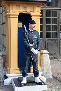 22 vaktpost utenfor slottet i Stockholm