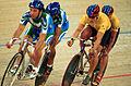 231000 - Cycling track Darren Harry Paul Clohessy action - 3b - 2000 Sydney race photo.jpg