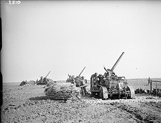 71st (Forth) Heavy Anti-Aircraft Regiment, Royal Artillery - 3-inch AA guns in North Africa on cruciform travelling carriages.