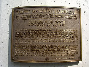 Titanic Memorial (New York City) - Dedication plaque on the Lighthouse