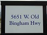 5600 W Old Bingham Hwy station passenger platform sign, Apr 16.jpg